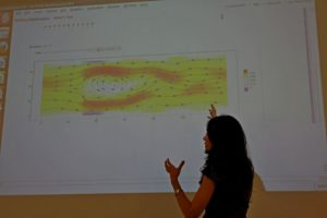 Scholarship receipient Roya Fereidani presenting Lattice Boltzmann method with the help of an interactive Mathematica